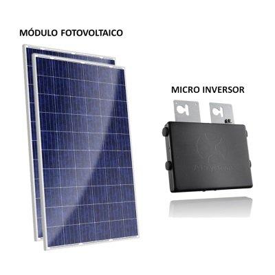 kit painel solar com microinversor 500w gera até 480kwh por mês